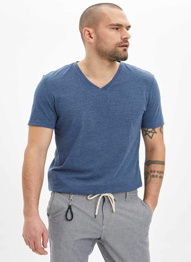 DeFacto Basic Slim Fit T-Shirt Lacivert